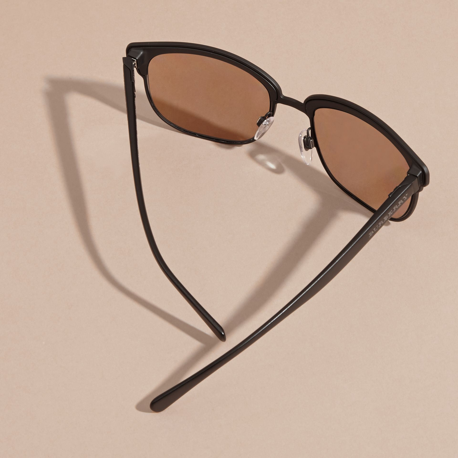 Textured Front Square Frame Sunglasses in Black - Men | Burberry Australia - gallery image 4