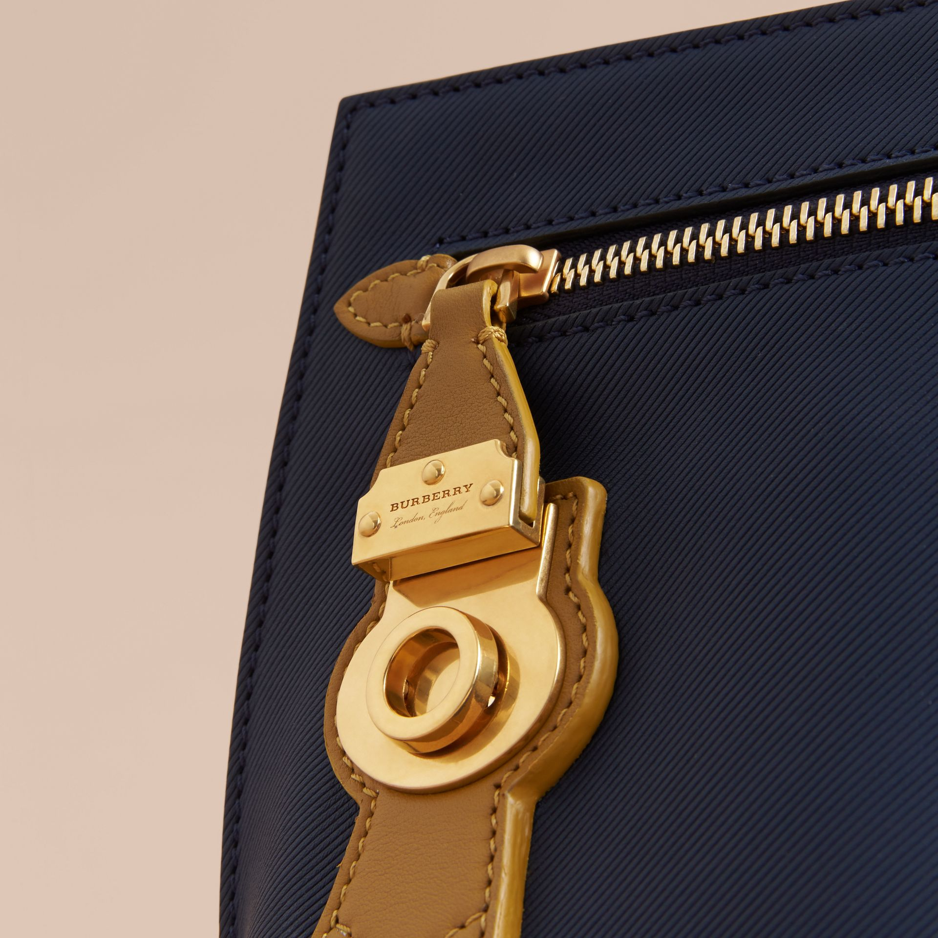 Two-tone Trench Leather Wristlet Pouch Ink Blue/ochre Yellow - gallery image 2