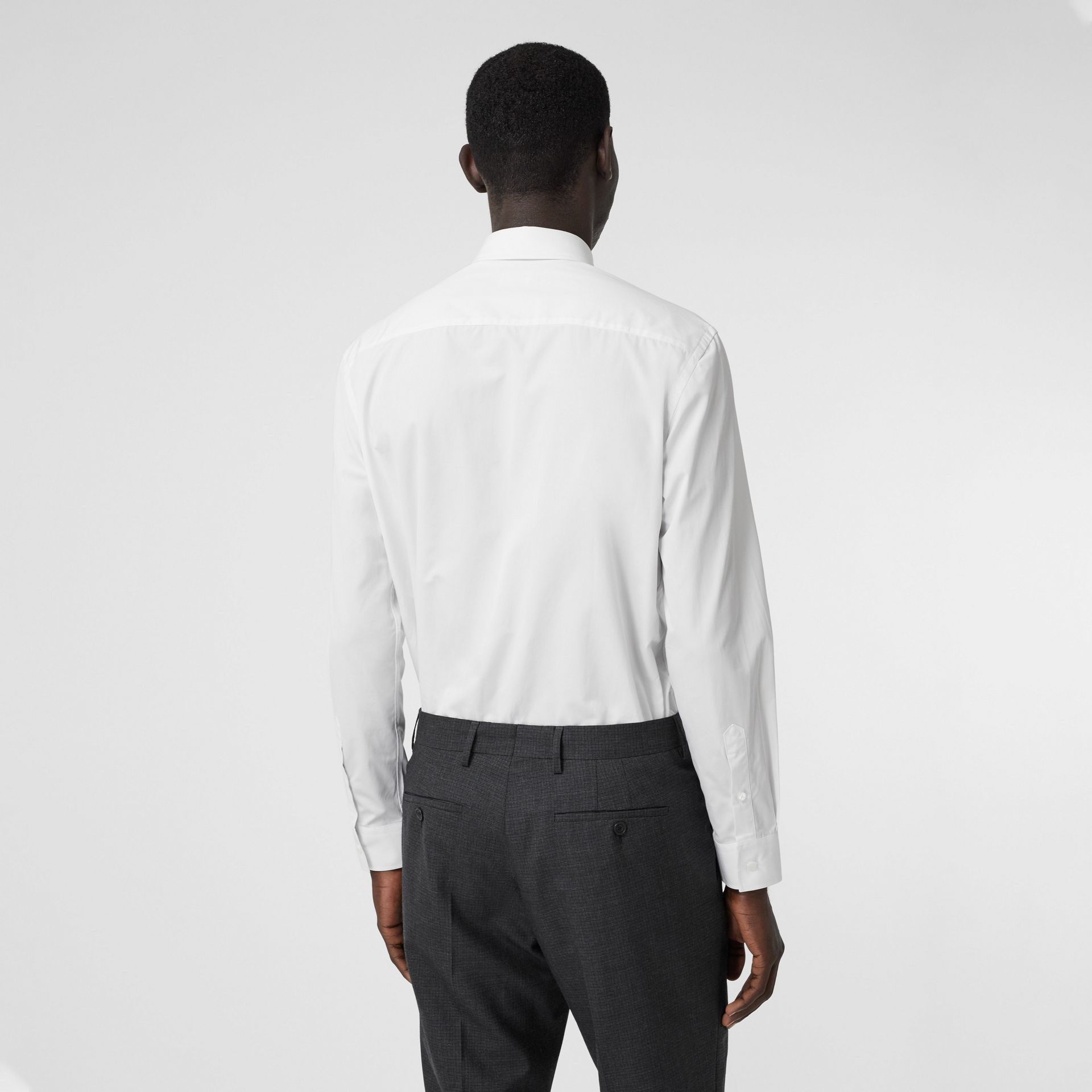 Classic Fit Monogram Motif Cotton Poplin Shirt in White - Men | Burberry United Kingdom - gallery image 2