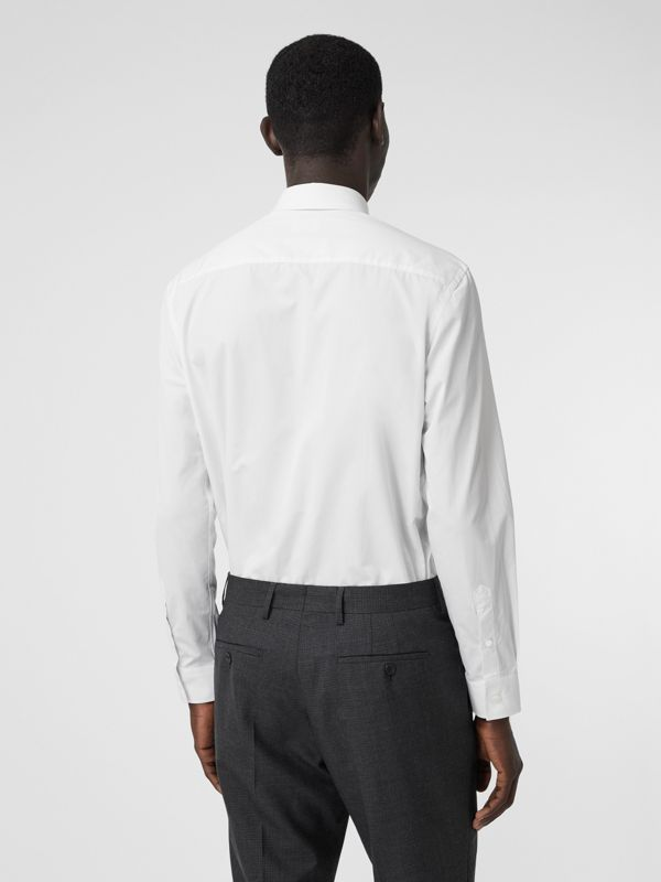 Classic Fit Monogram Motif Cotton Poplin Shirt in White - Men | Burberry United Kingdom - cell image 2