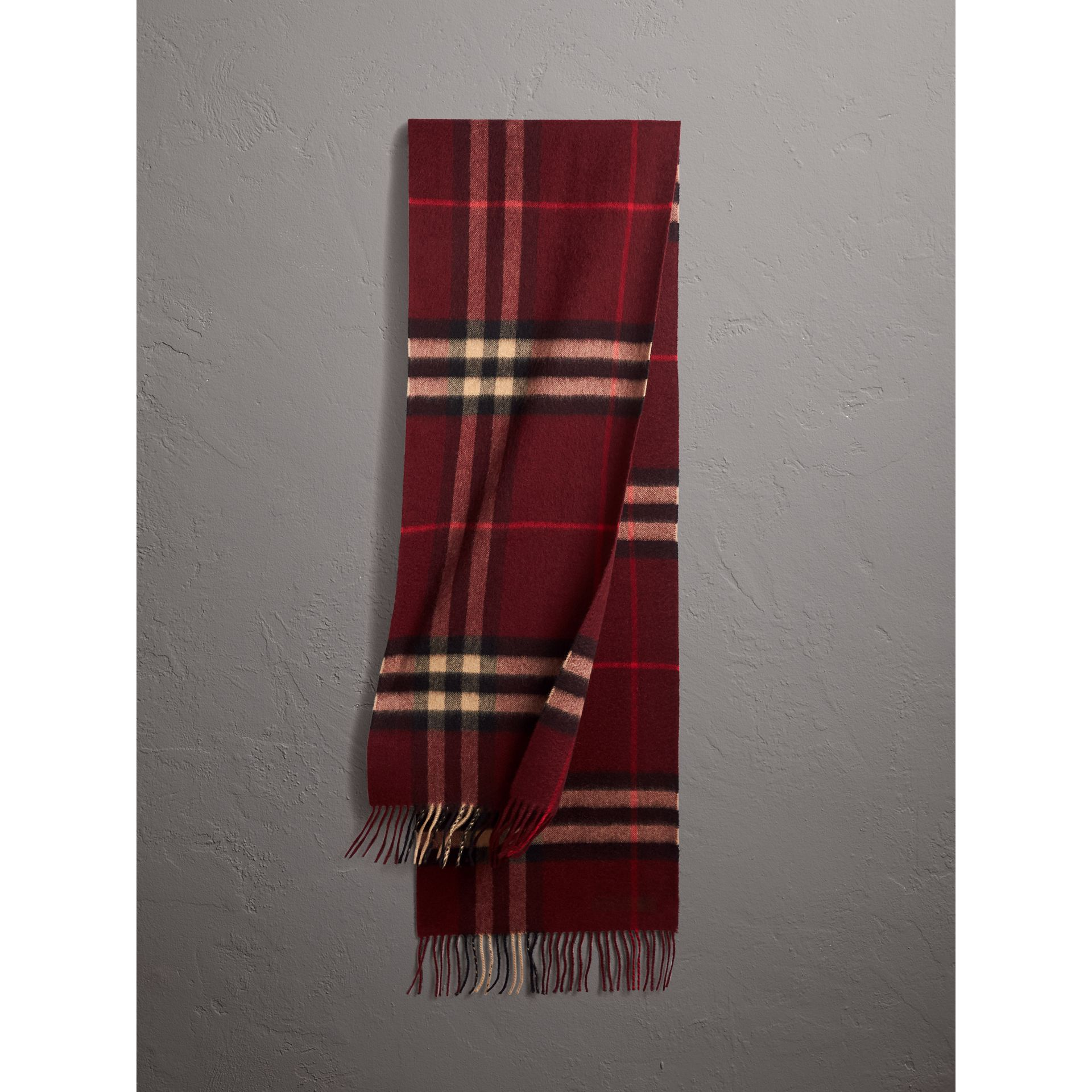The Classic Check Cashmere Scarf in Claret | Burberry Australia - gallery image 1