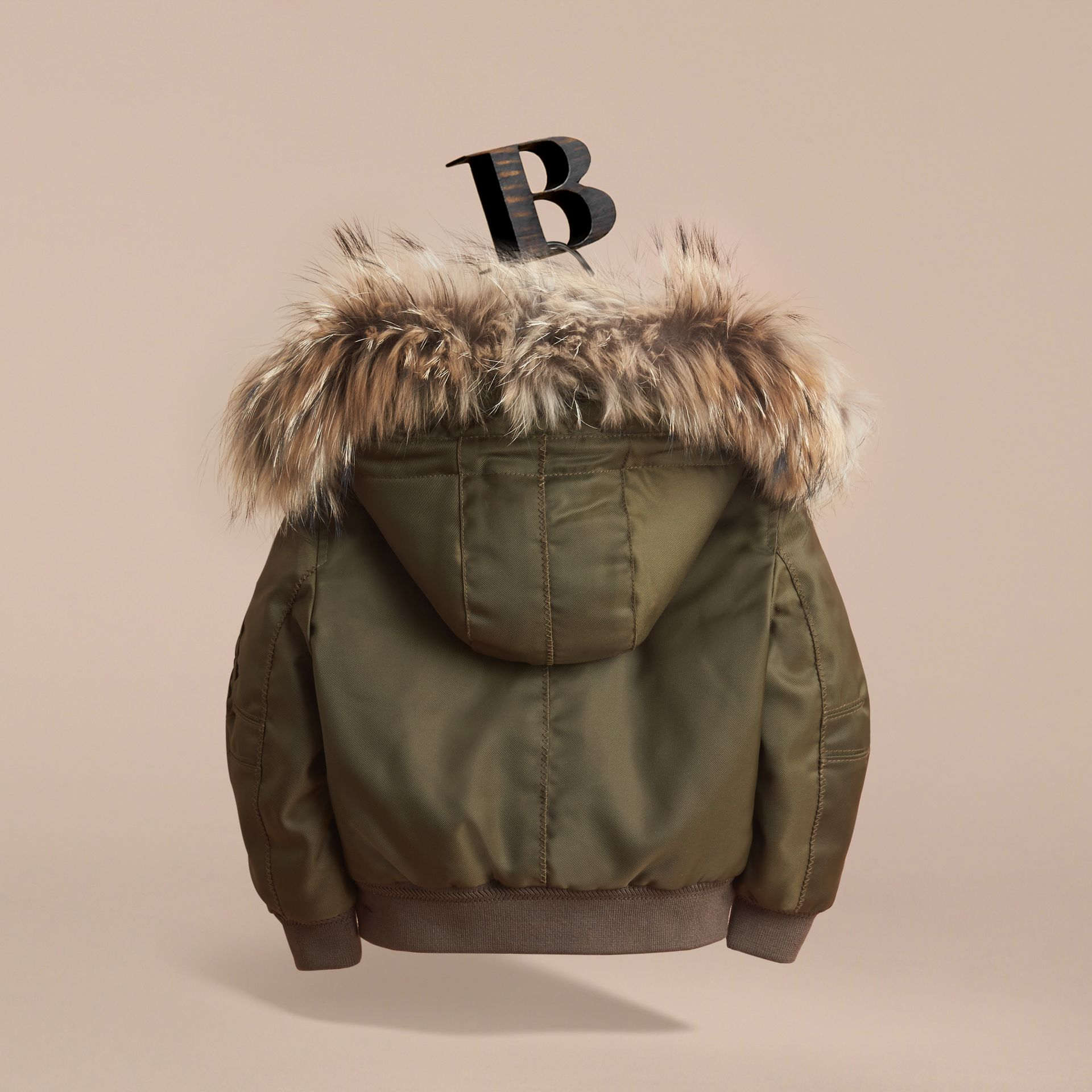 Detachable Raccoon Fur Trim Hood Bomber Jacket in Caper Green - Boy | Burberry - gallery image 4