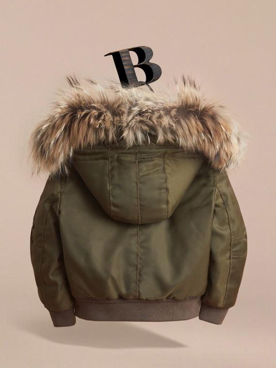 Detachable Raccoon Fur Trim Hood Bomber Jacket - Boy | Burberry - cell image 3