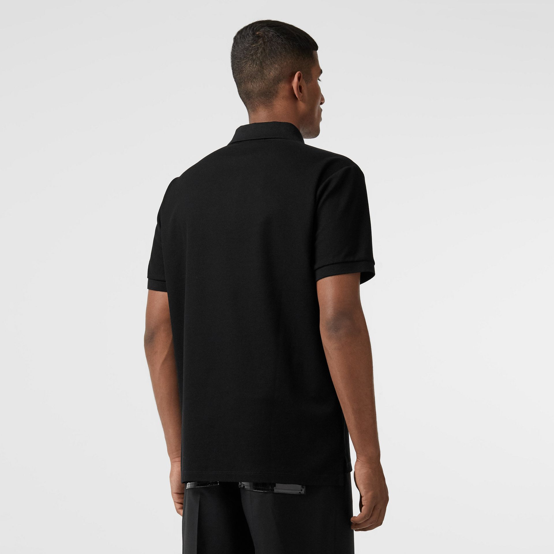Logo Print Cotton Piqué Polo Shirt in Black - Men | Burberry - gallery image 2