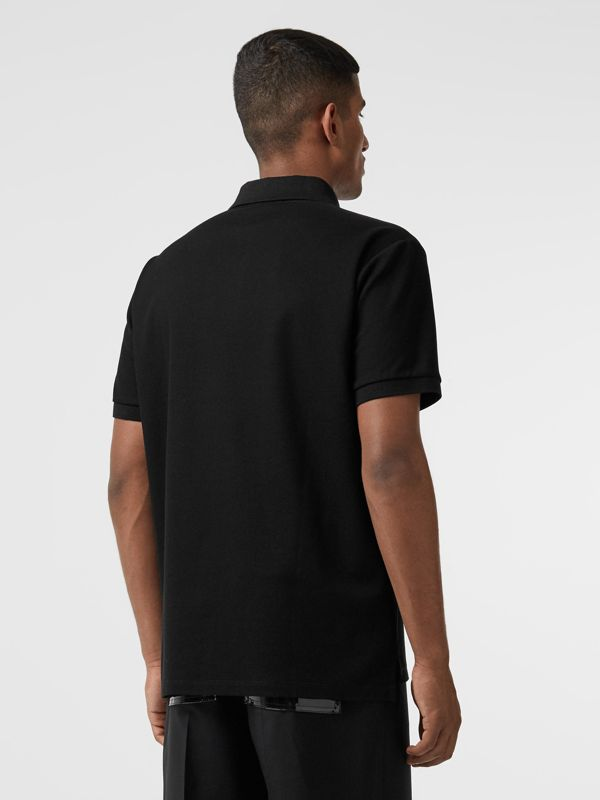 Logo Print Cotton Piqué Polo Shirt in Black - Men | Burberry Australia - cell image 2