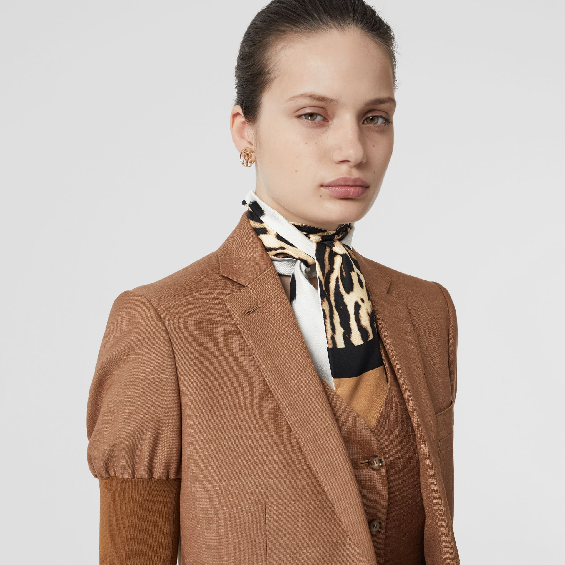 Animal Print Silk Skinny Scarf in White | Burberry - gallery image 2
