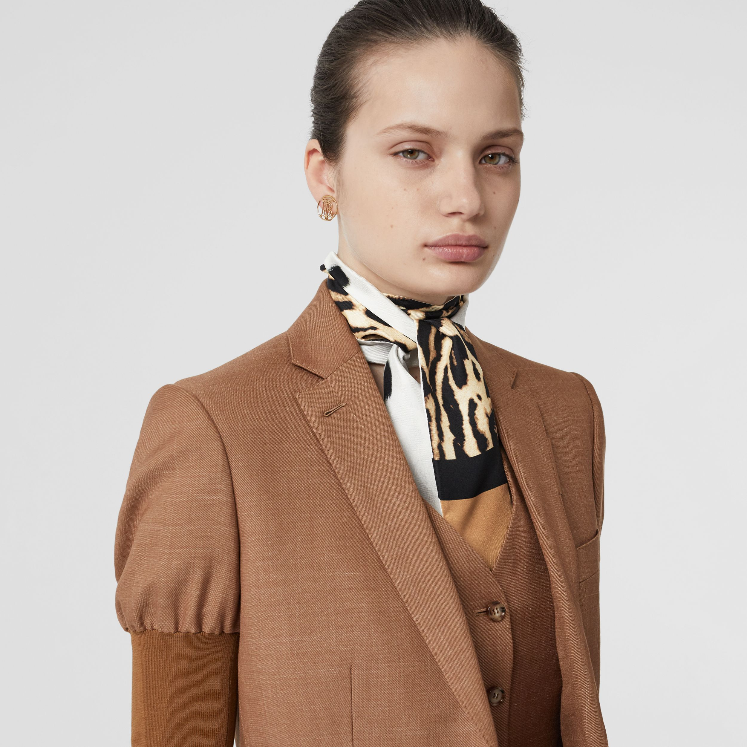 Animal Print Silk Skinny Scarf in White - Women | Burberry - 3