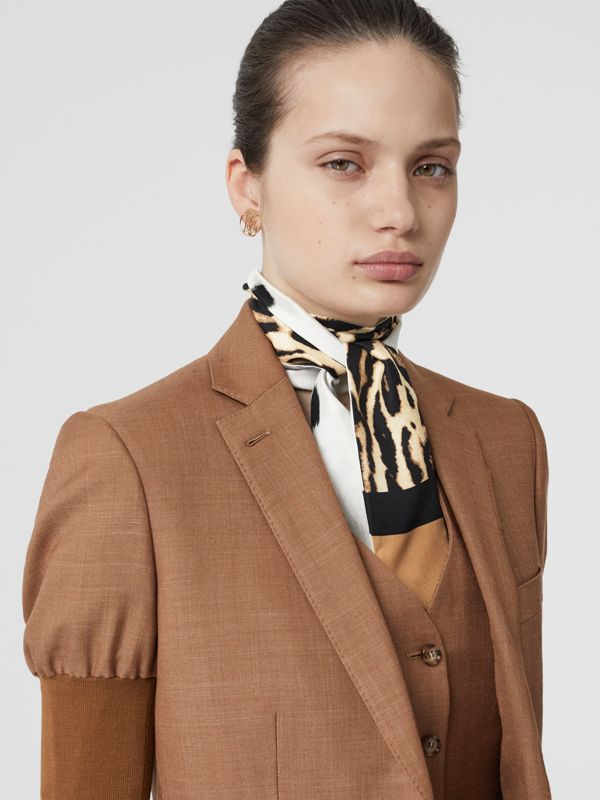 Animal Print Silk Skinny Scarf in White | Burberry - cell image 2