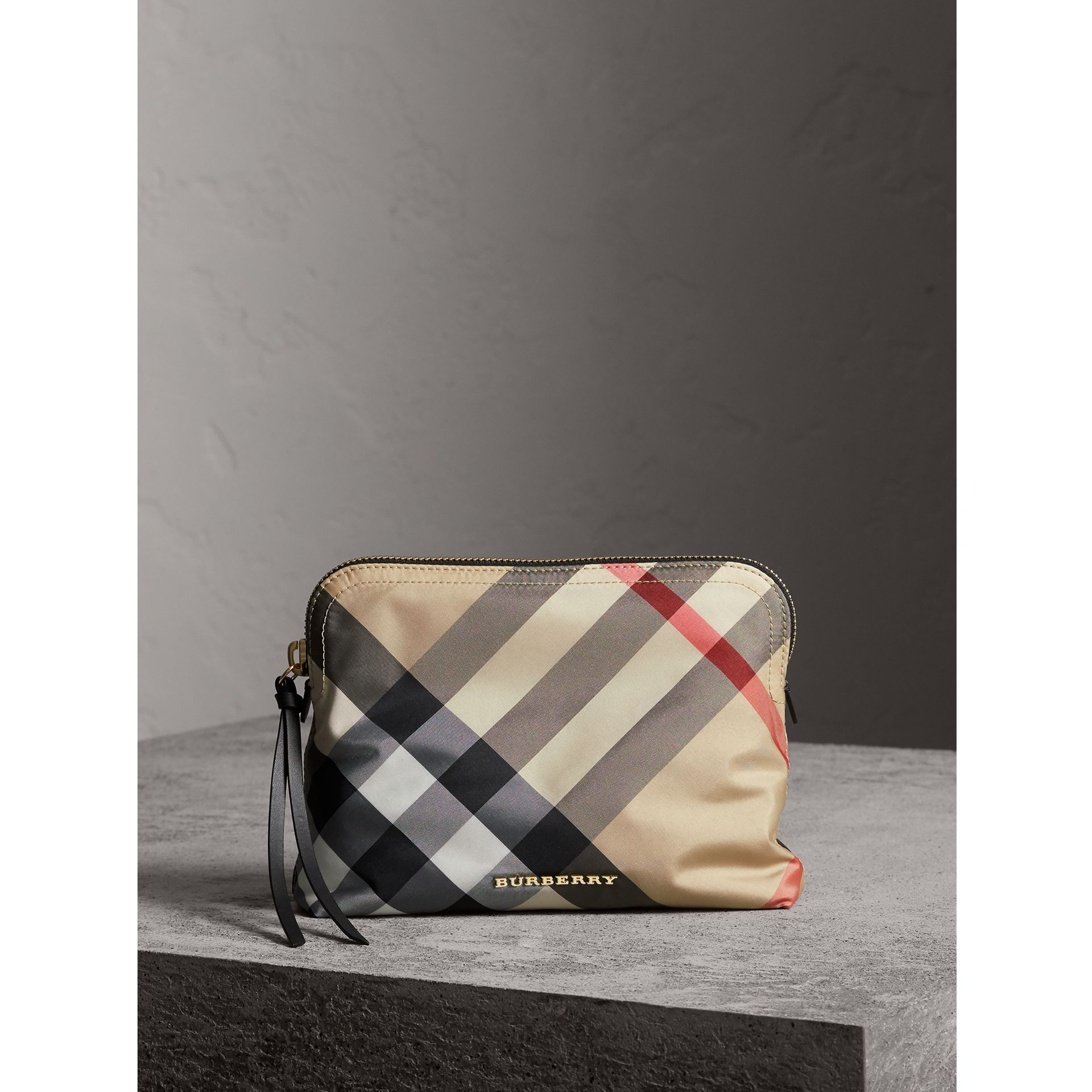 Large Zip-top Check Pouch in Camel - Women | Burberry - gallery image 1