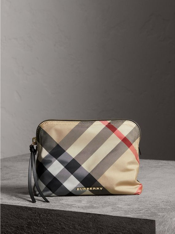 Large Zip-top Check Pouch in Camel - Women | Burberry