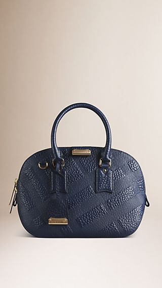 The Small Orchard In Embossed Check Leather Blue Carbon