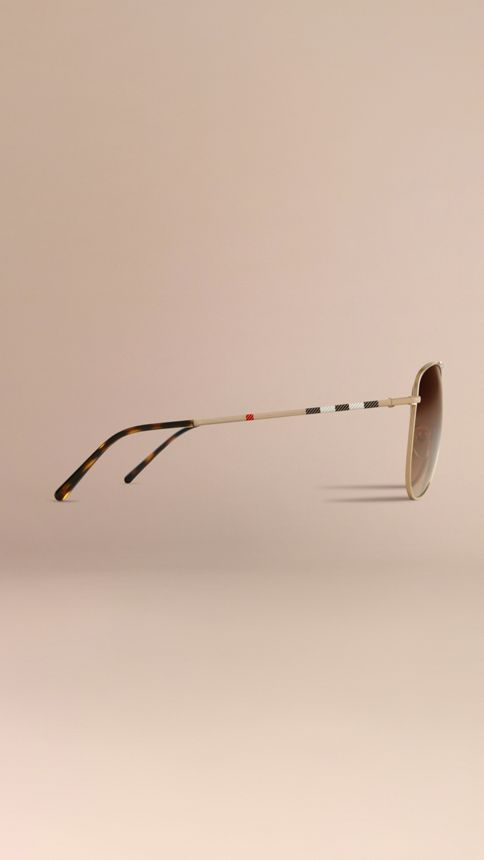 Pale gold Check Arm Aviator Sunglasses - Image 5