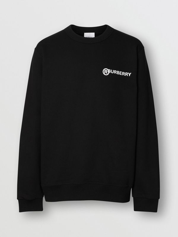Logo Print Cotton Sweatshirt in Black - Men | Burberry Canada - cell image 3