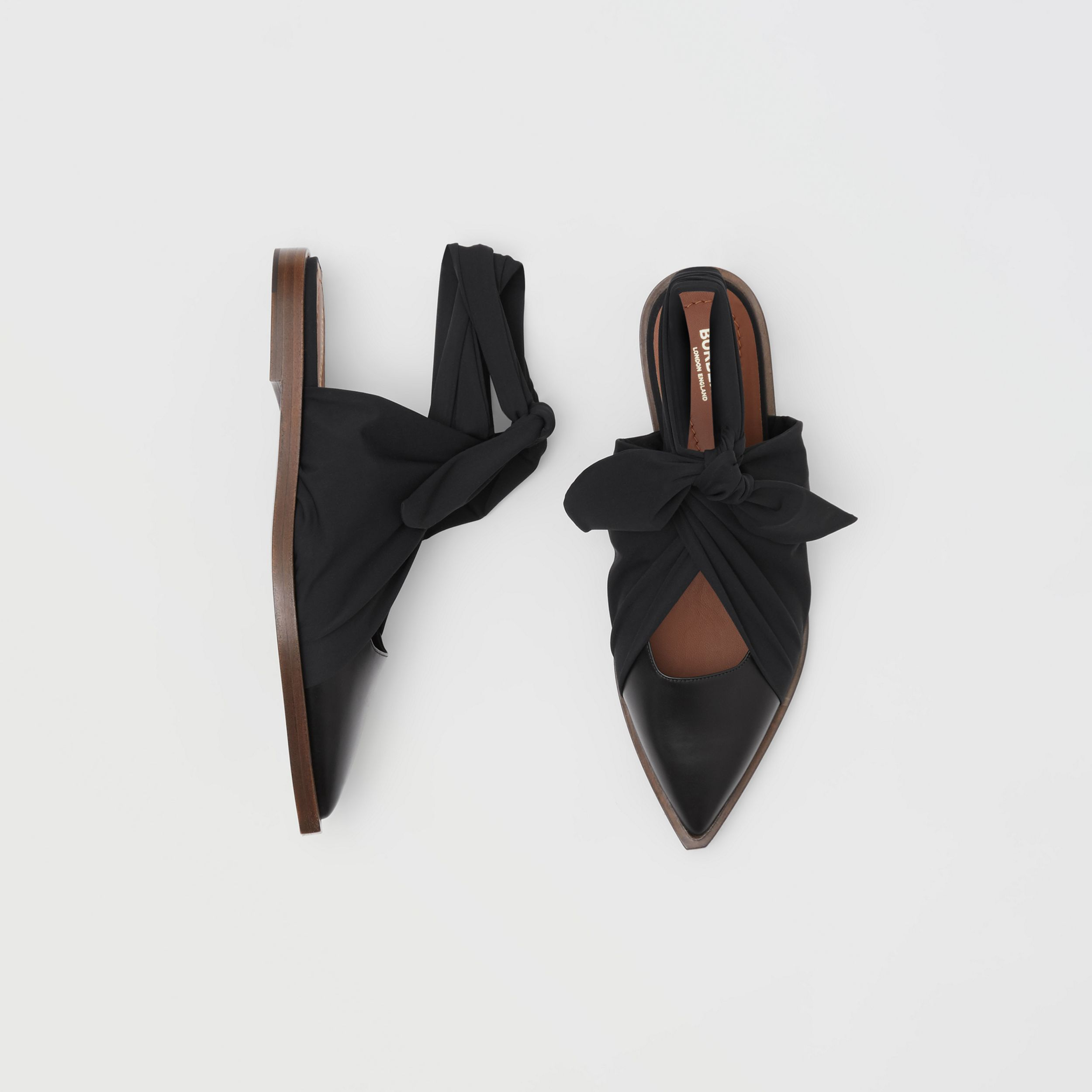 Scarf Tie Detail Leather Point-toe Mules in Black - Women | Burberry - 1