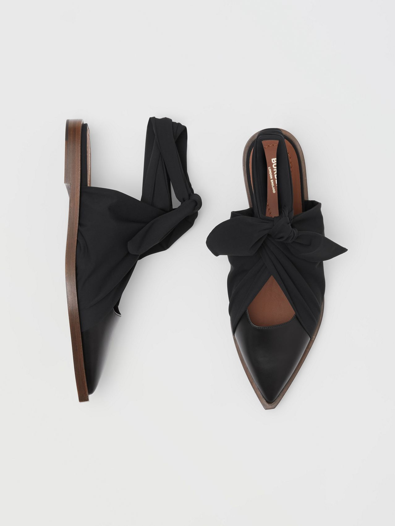 Scarf Tie Detail Leather Point-toe Mules in Black