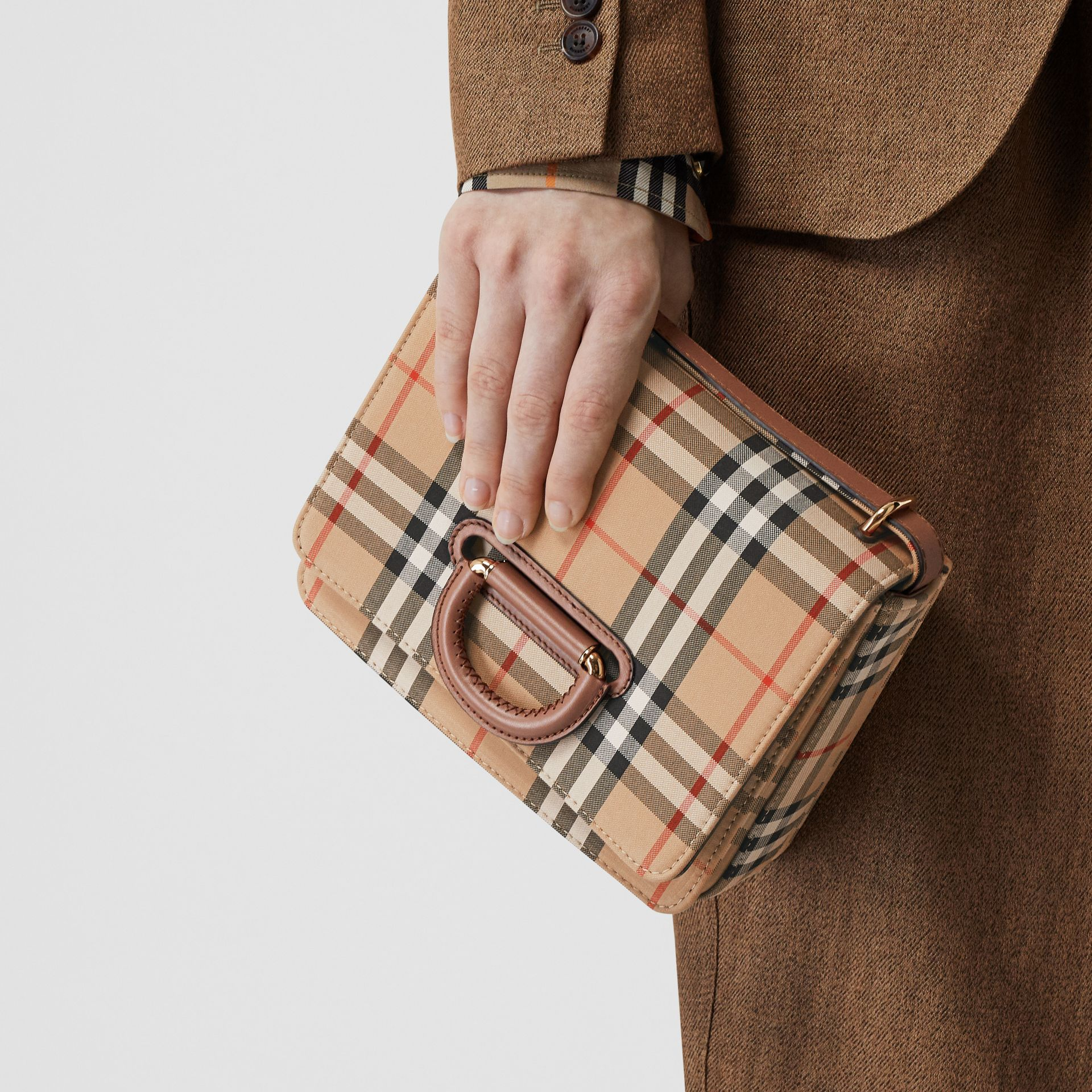 The Small Vintage Check D-ring Bag in Archive Beige - Women | Burberry Australia - gallery image 2