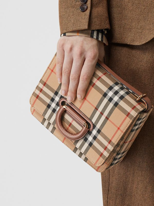 The Small Vintage Check D-ring Bag in Archive Beige - Women | Burberry Australia - cell image 2