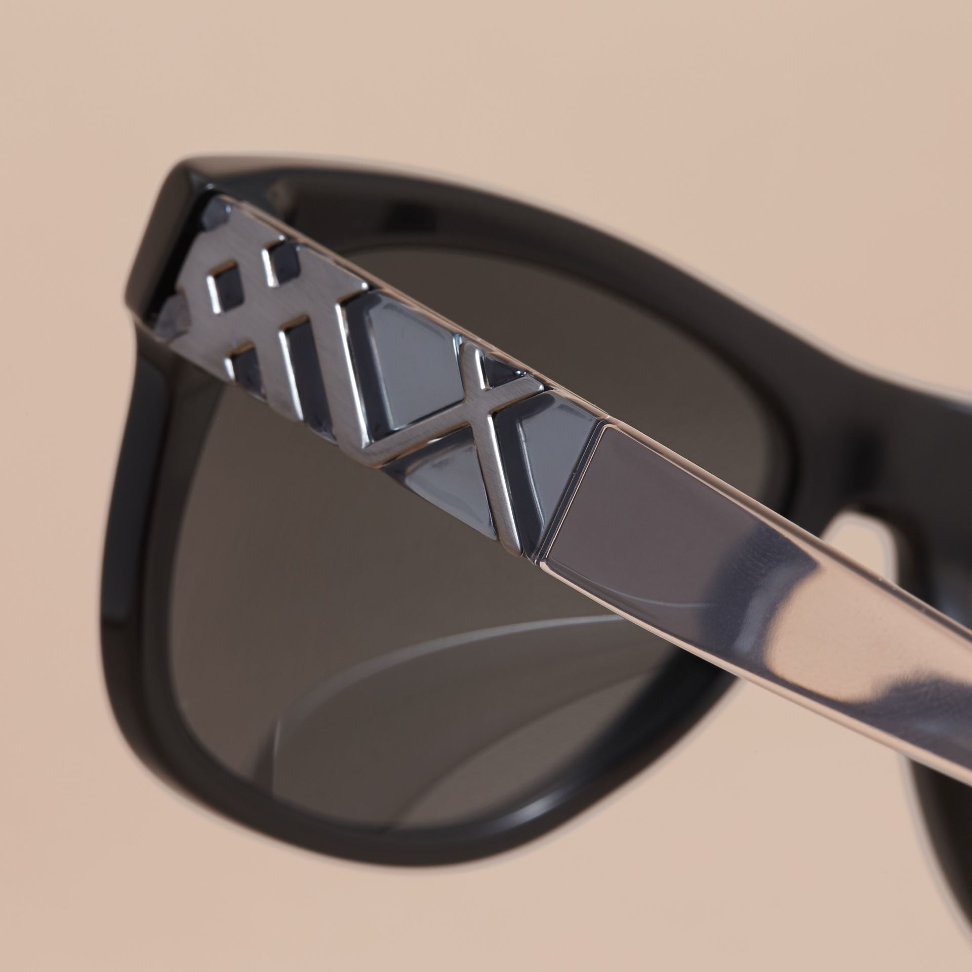 Check Detail Square Frame Sunglasses in Black - Men | Burberry - gallery image 2