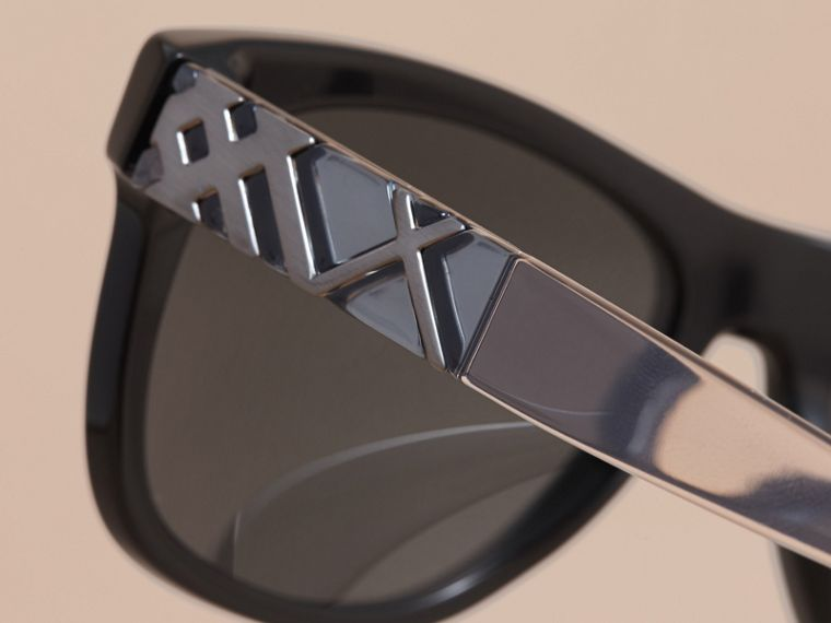Check Detail Square Frame Sunglasses in Black - Men | Burberry - cell image 1