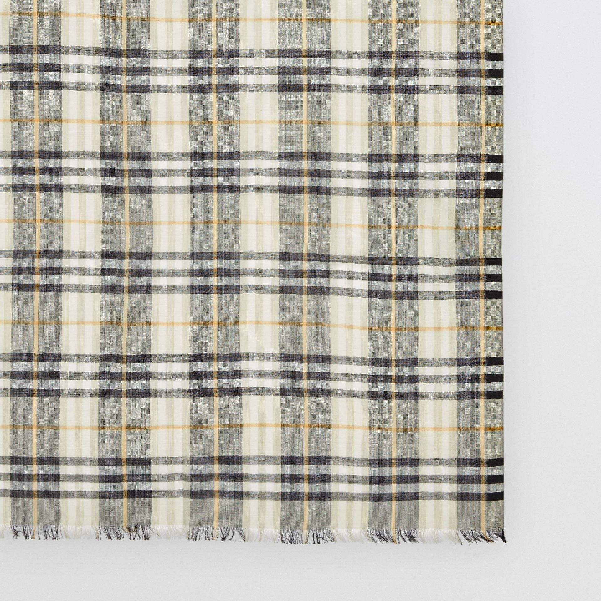 Vintage Check Lightweight Wool Silk Scarf in Sage Green | Burberry - gallery image 1