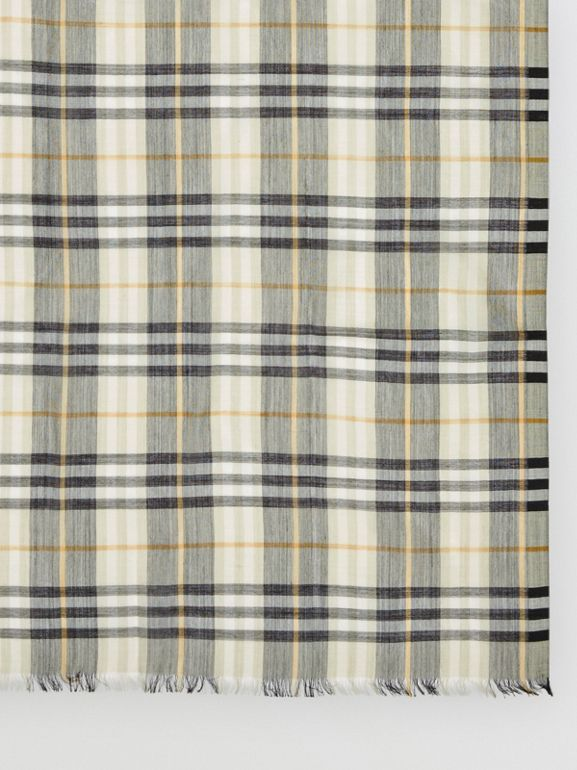 Vintage Check Lightweight Wool Silk Scarf in Sage Green | Burberry Australia - cell image 1