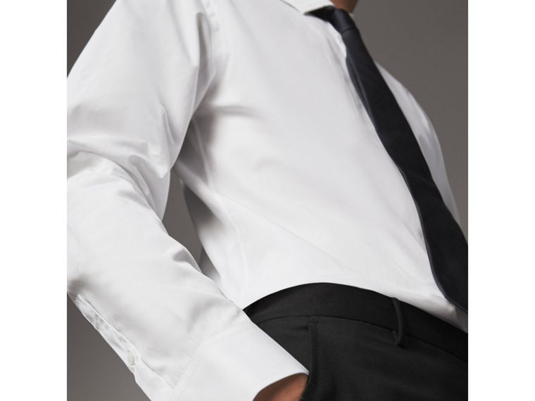 Modern Fit Cotton Poplin Shirt in White - Men | Burberry Canada - cell image 4