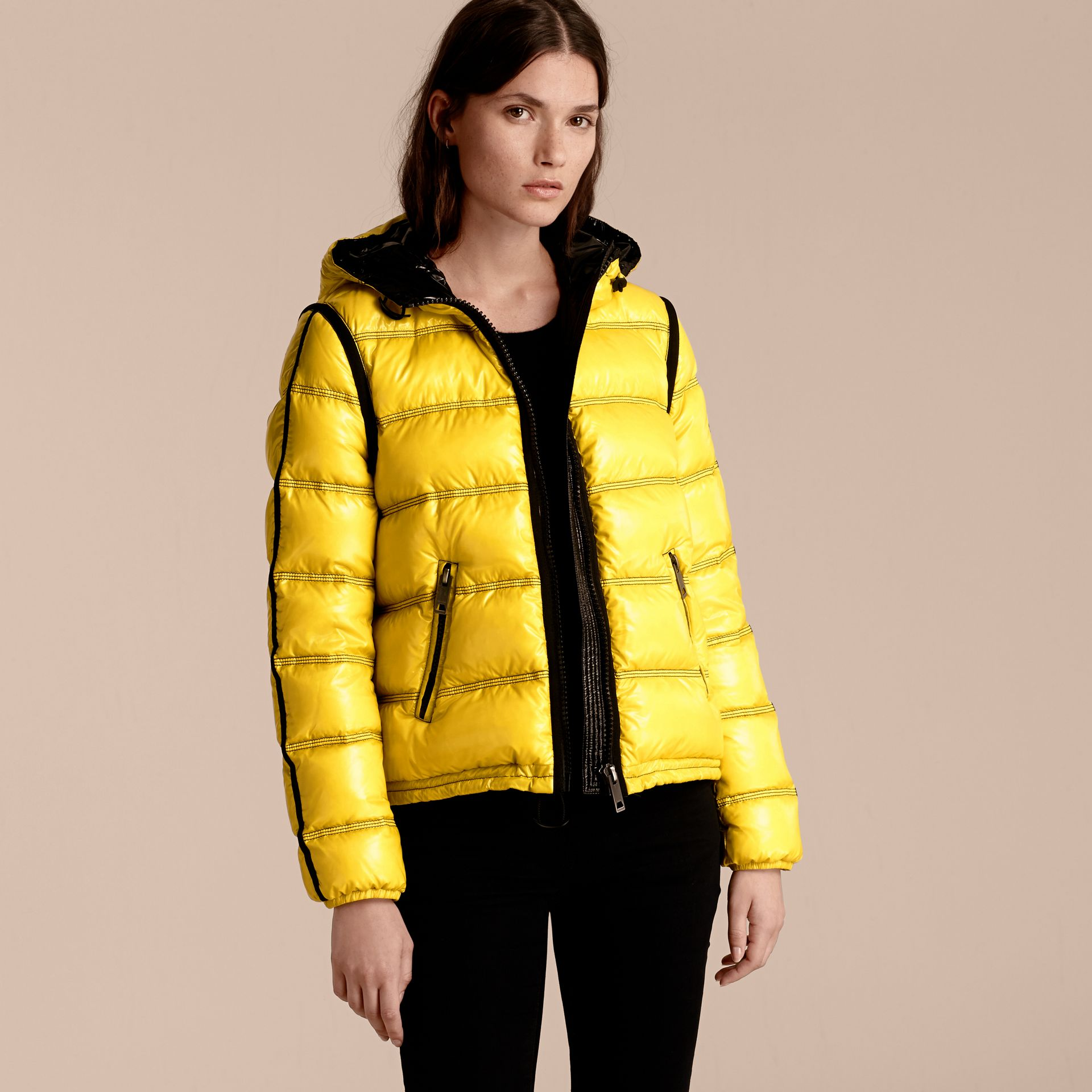 Cornflower yellow Glossy Hooded Puffer Jacket with Sporty Detailing - gallery image 6