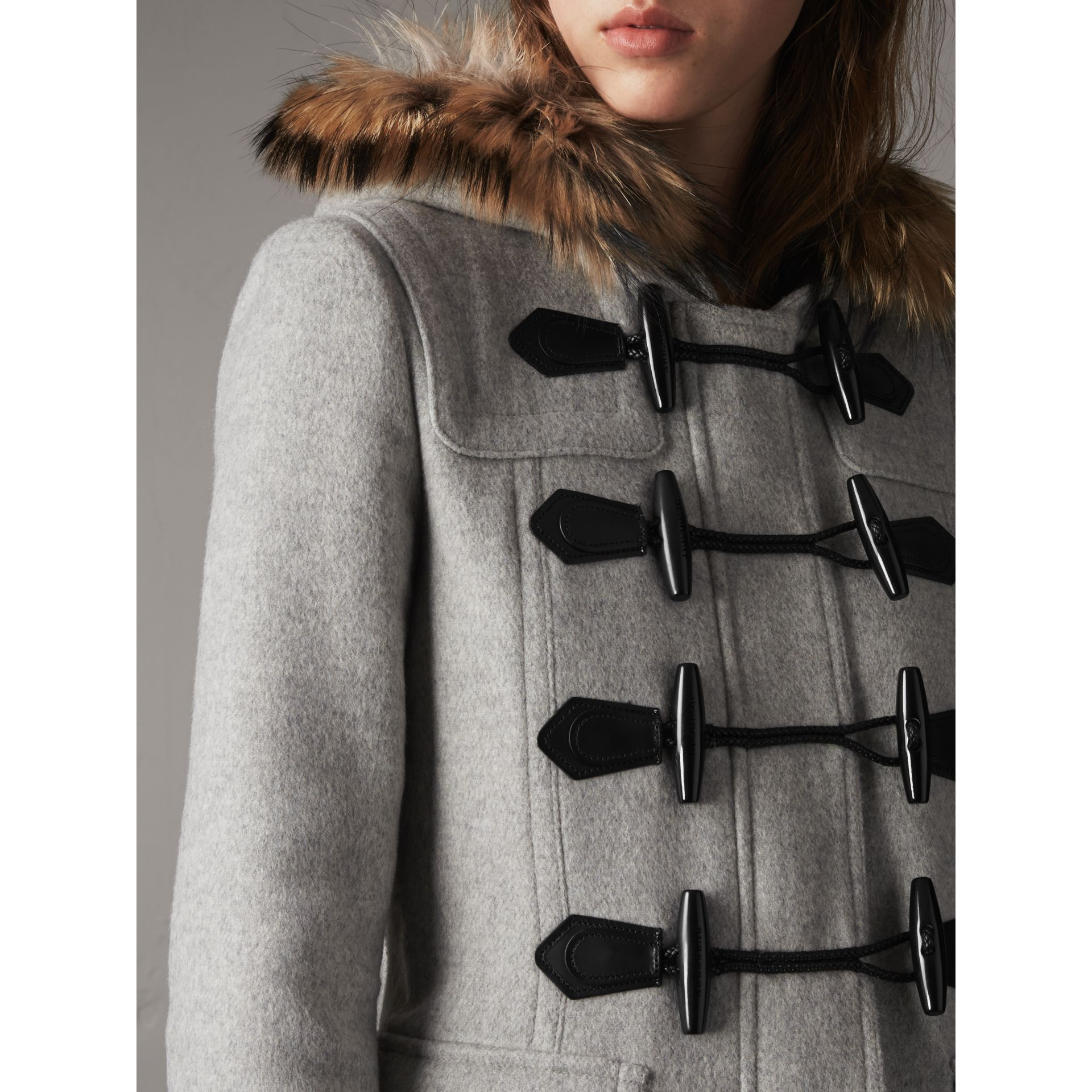 Wool Duffle Coat with Detachable Fur Trim in Light Grey Melange - Women | Burberry - gallery image 1