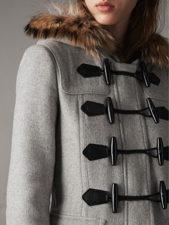 Wool Duffle Coat with Detachable Fur Trim in Light Grey Melange - Women | Burberry - cell image 1