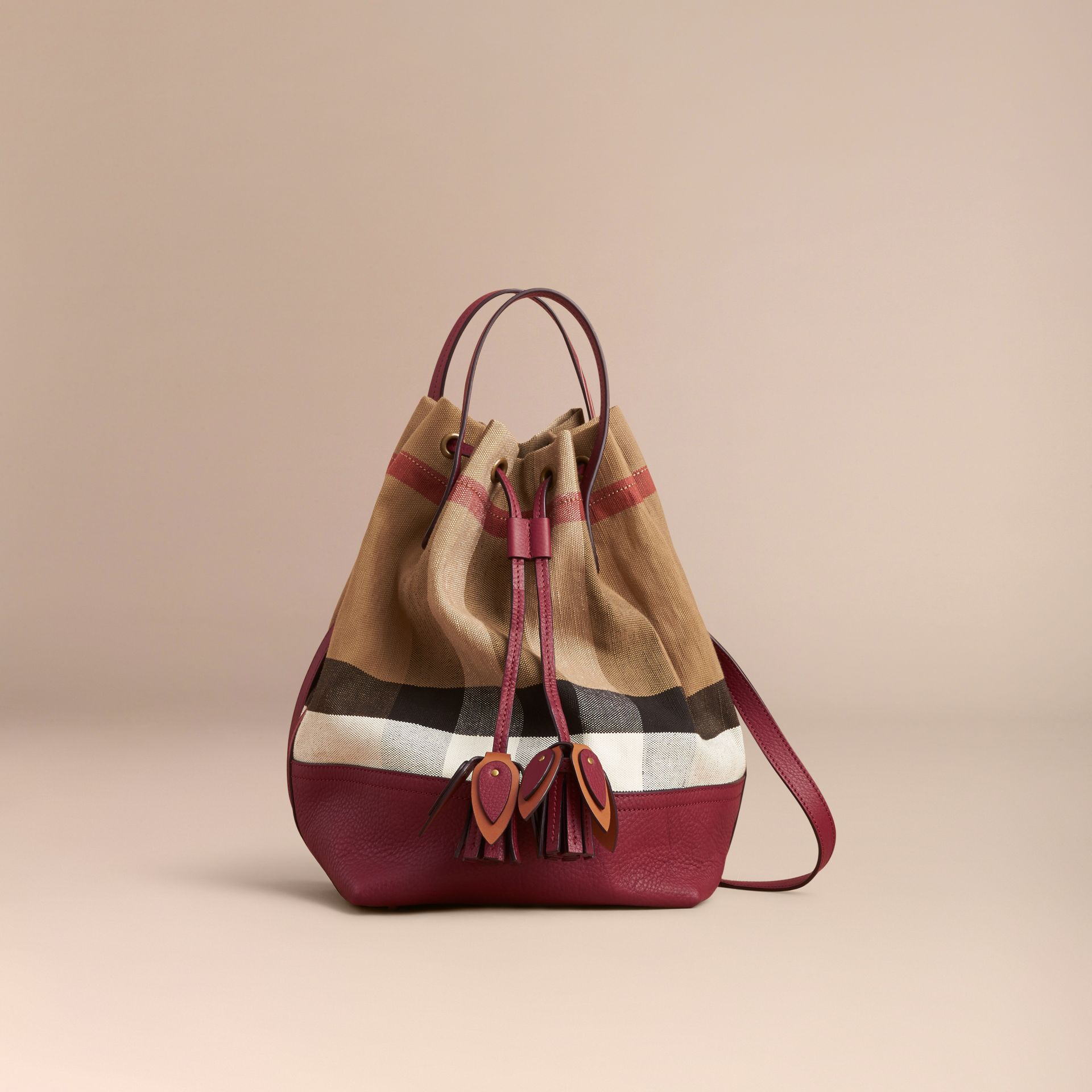 Medium Canvas Check and Leather Bucket Bag in Burgundy Red - Women | Burberry - gallery image 8