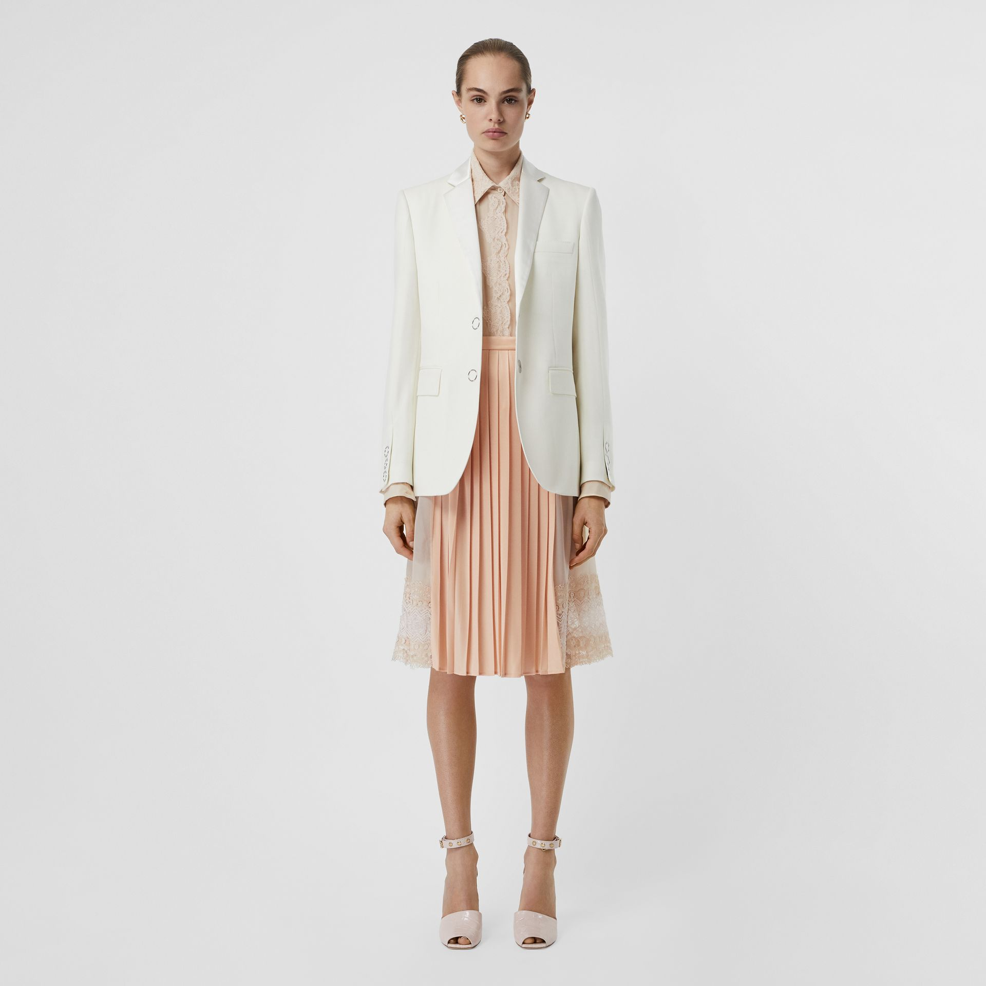 Silk Trim Press-stud Wool Tailored Jacket in Natural White - Women | Burberry Australia - gallery image 0