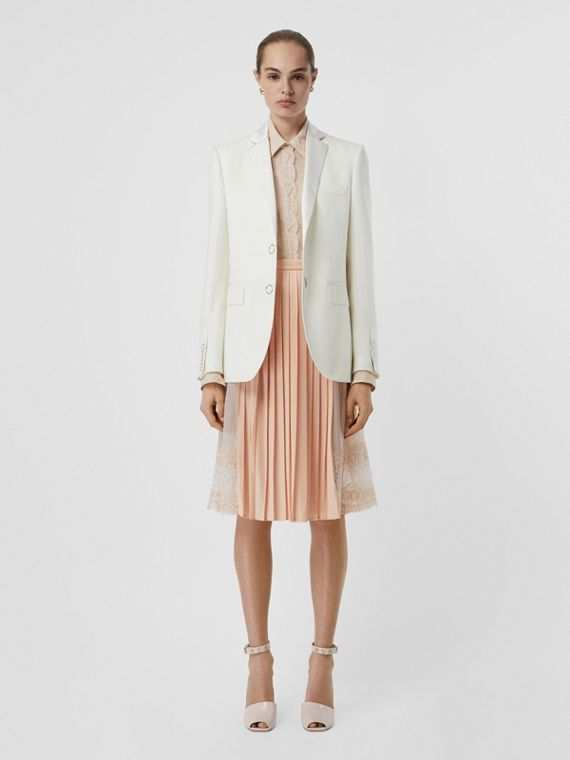 Silk Trim Press-stud Wool Tailored Jacket in Natural White