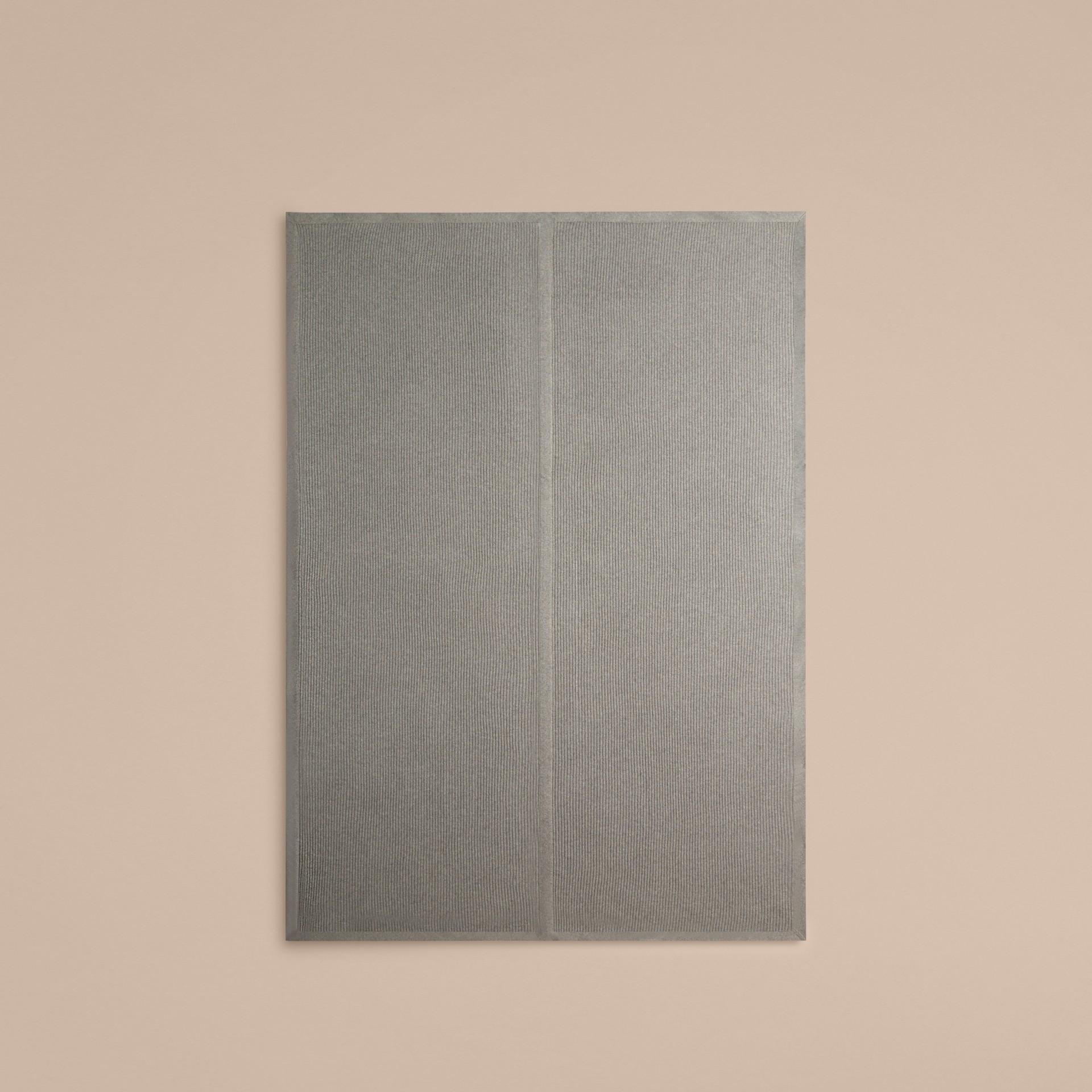 Light grey melange Rib Cashmere Blanket Light Grey Melange - gallery image 3