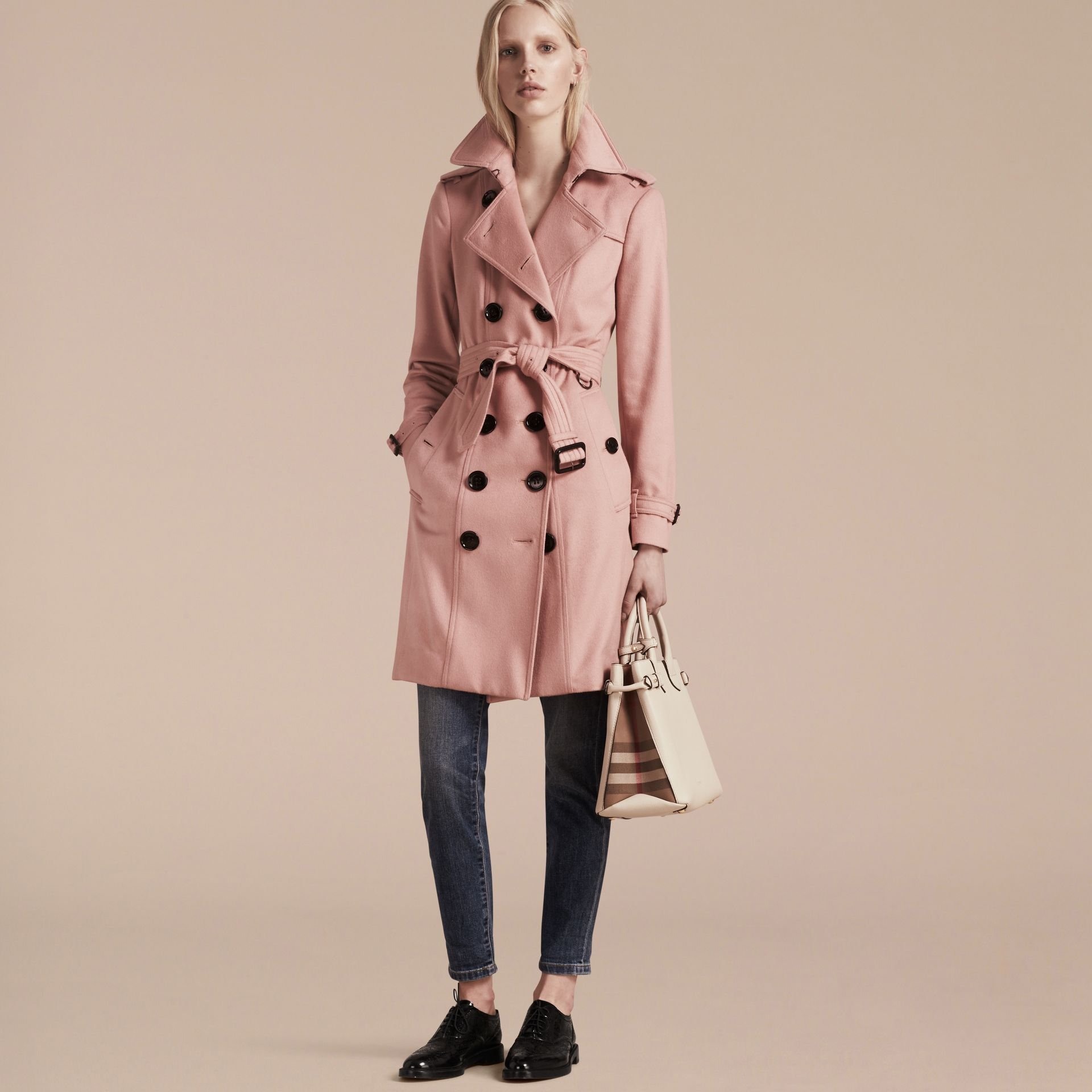 Sandringham Fit Cashmere Trench Coat Chalk Pink - gallery image 7