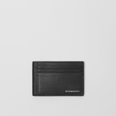Grainy Leather Money Clip Card Case by Burberry