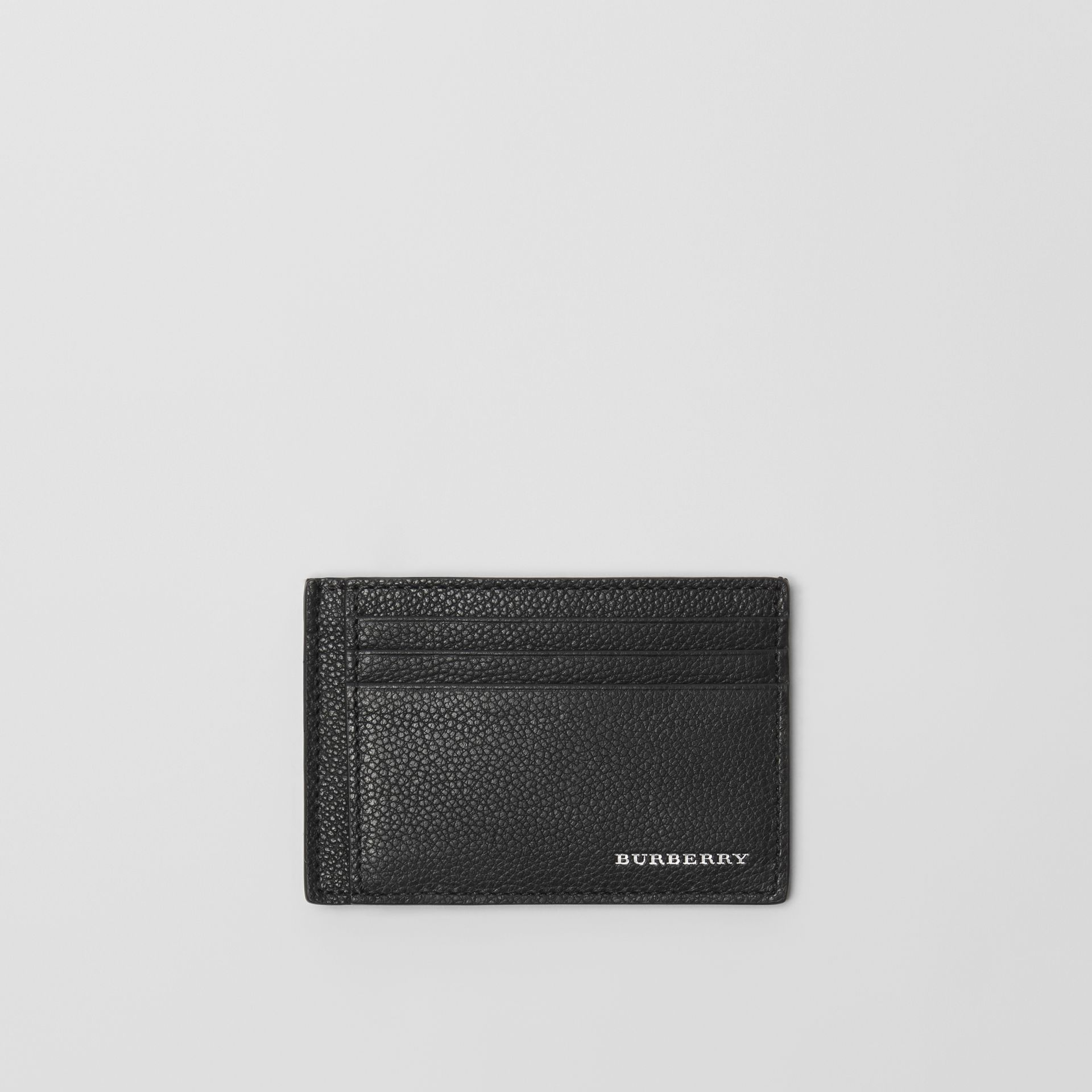 Grainy Leather Money Clip Card Case in Black - Men | Burberry - gallery image 0