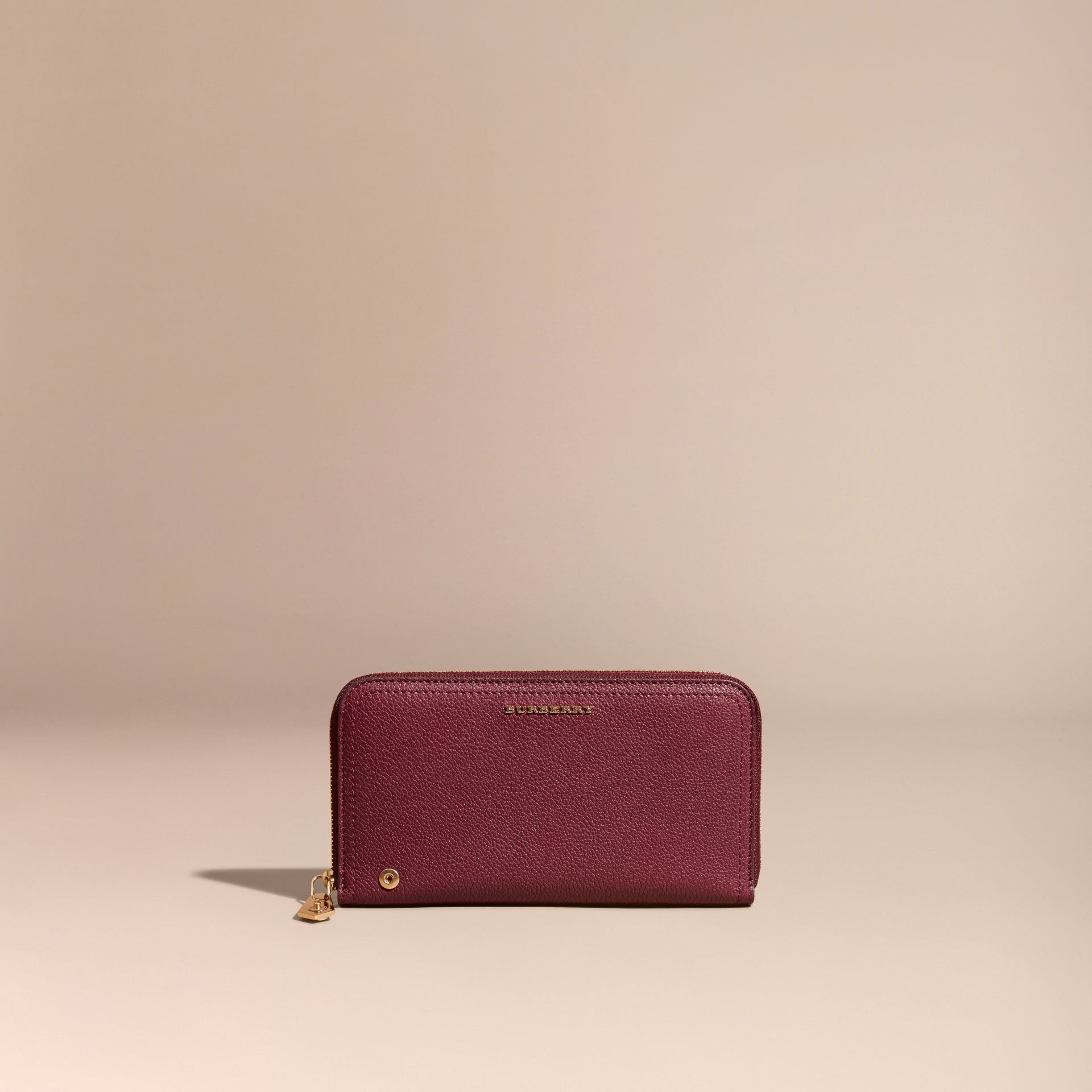 Dark plum Grainy Leather Ziparound Wallet Dark Plum - gallery image 6
