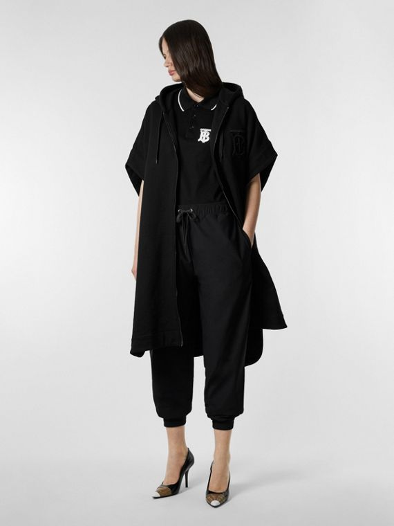 Monogram Motif Cotton Oversized Hooded Poncho in Black