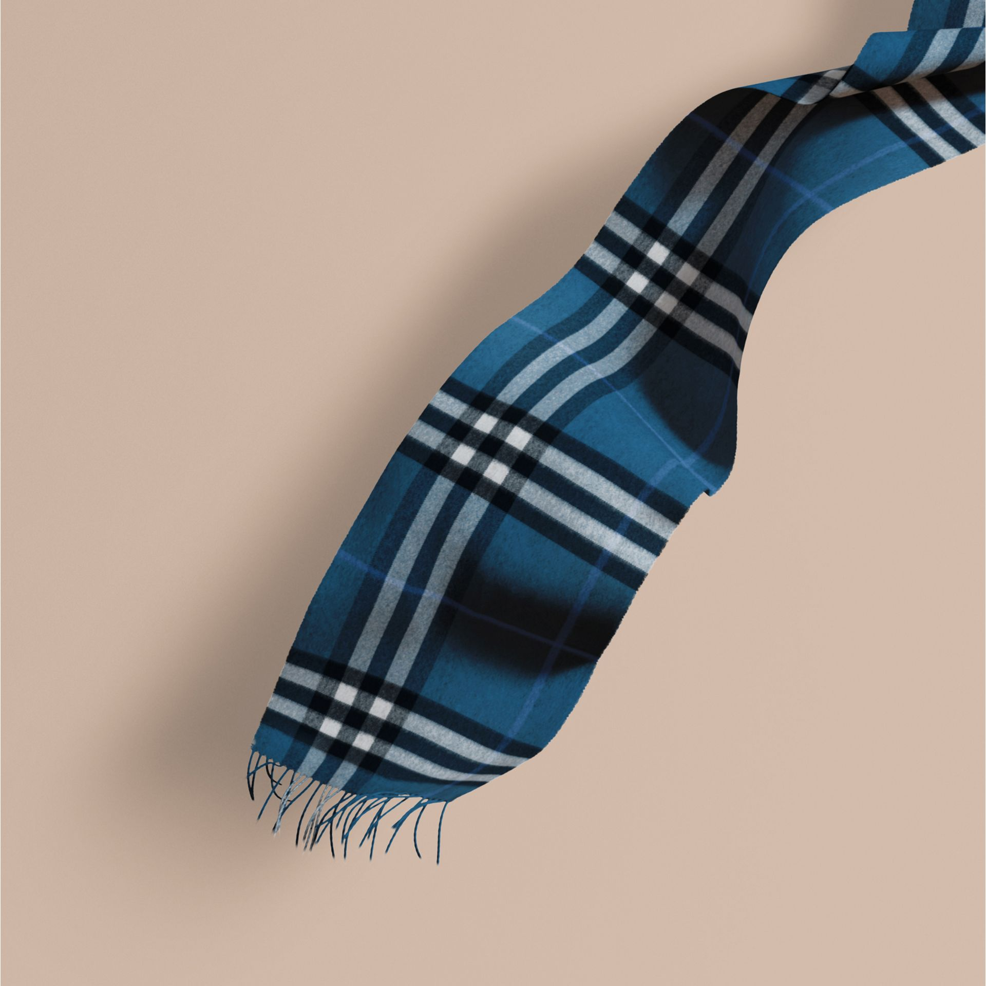 Marine blue The Classic Cashmere Scarf in Check Marine Blue - gallery image 1