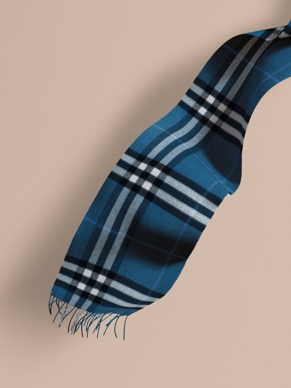 The Classic Cashmere Scarf in Check Marine Blue