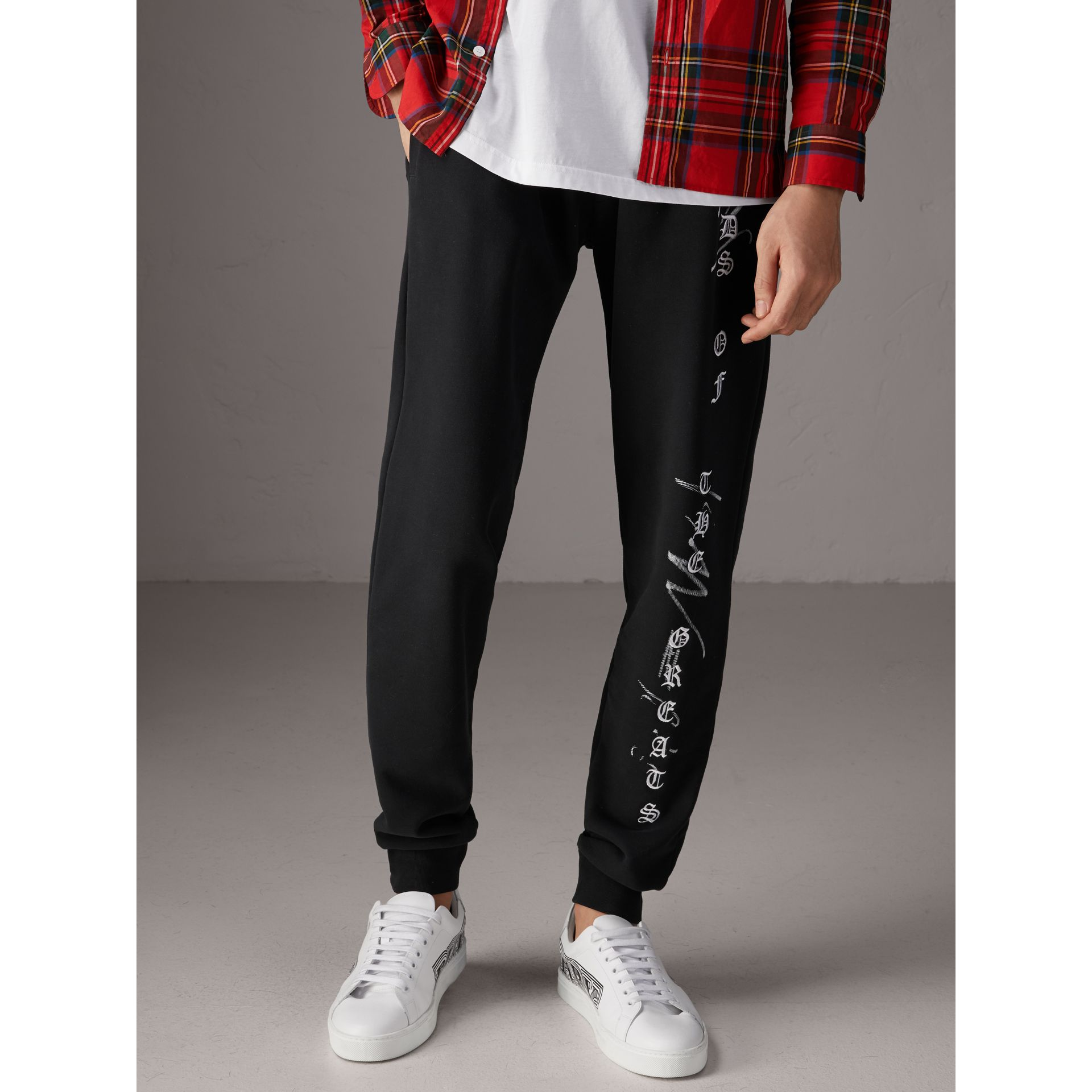 Burberry x Kris Wu Graphic Motif Sweatpants in Black - Men | Burberry - gallery image 4