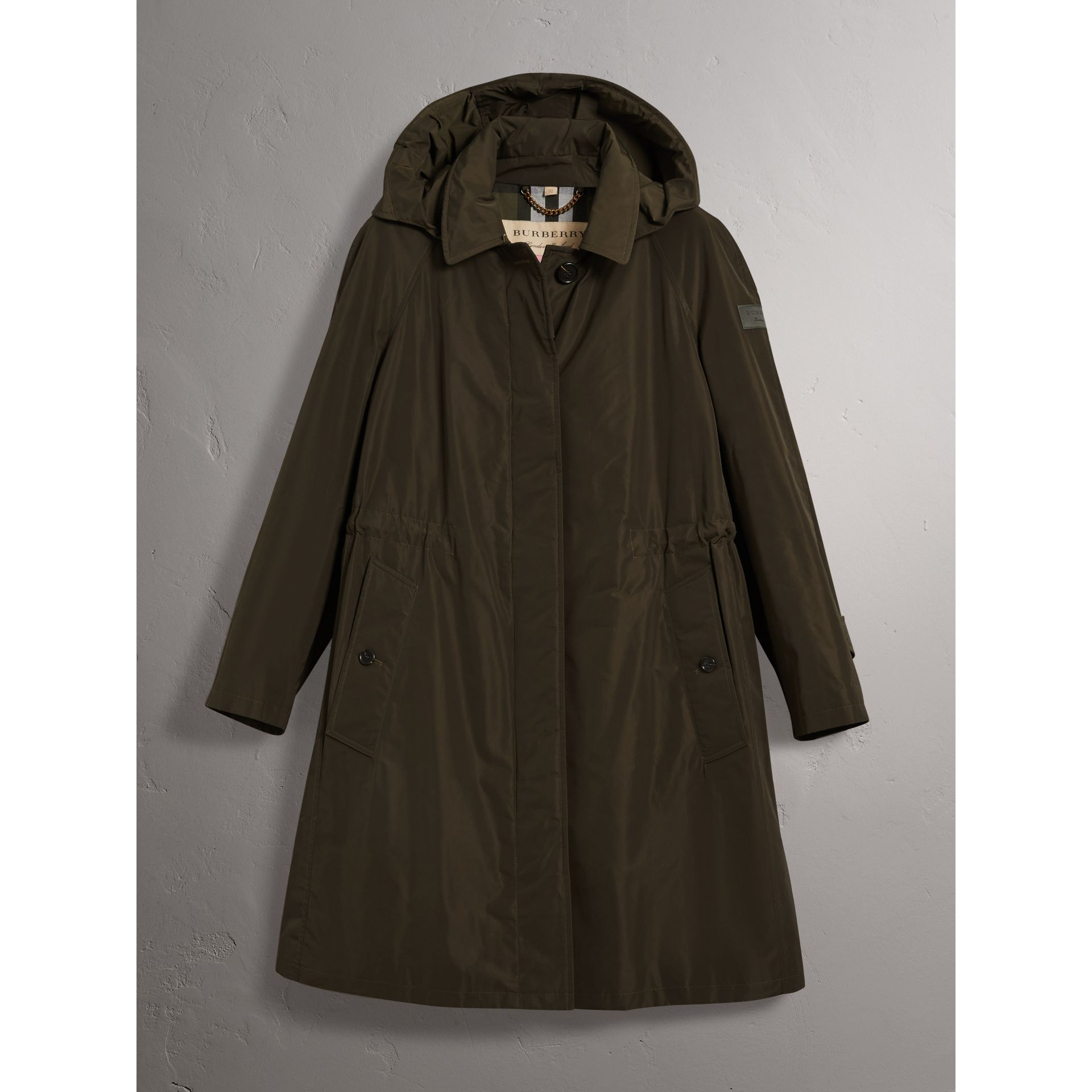 Detachable Hood Showerproof Car Coat in Dark Olive - Women | Burberry United States - gallery image 3