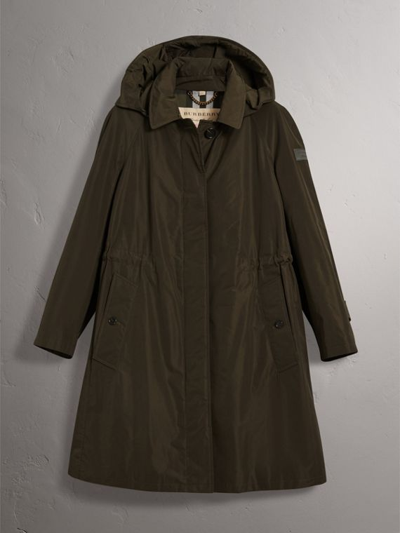 Detachable Hood Showerproof Car Coat in Dark Olive - Women | Burberry United States - cell image 3