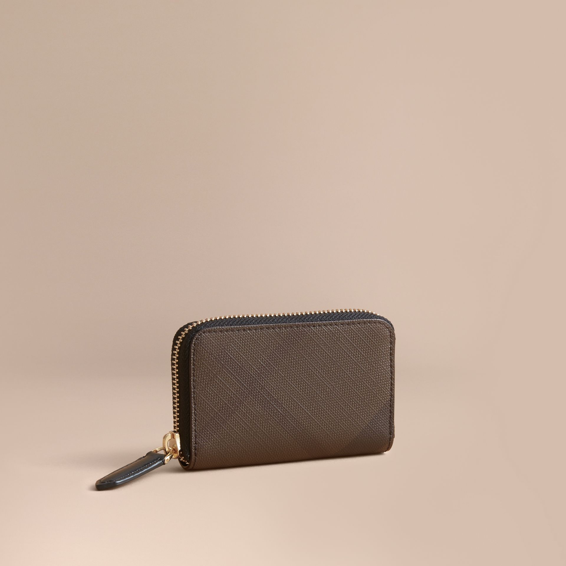 London Check Ziparound Coin Case in Chocolate/black - Men | Burberry Canada - gallery image 1