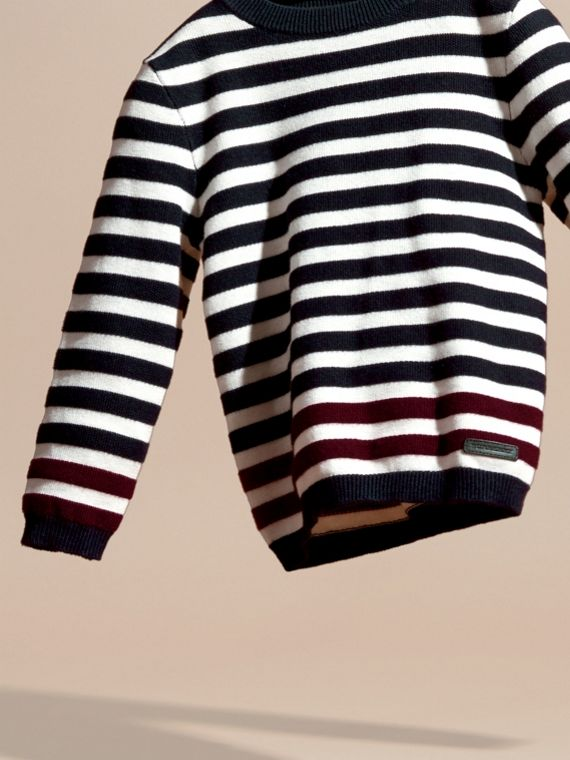 Navy Striped Cashmere Cotton Sweater - cell image 2