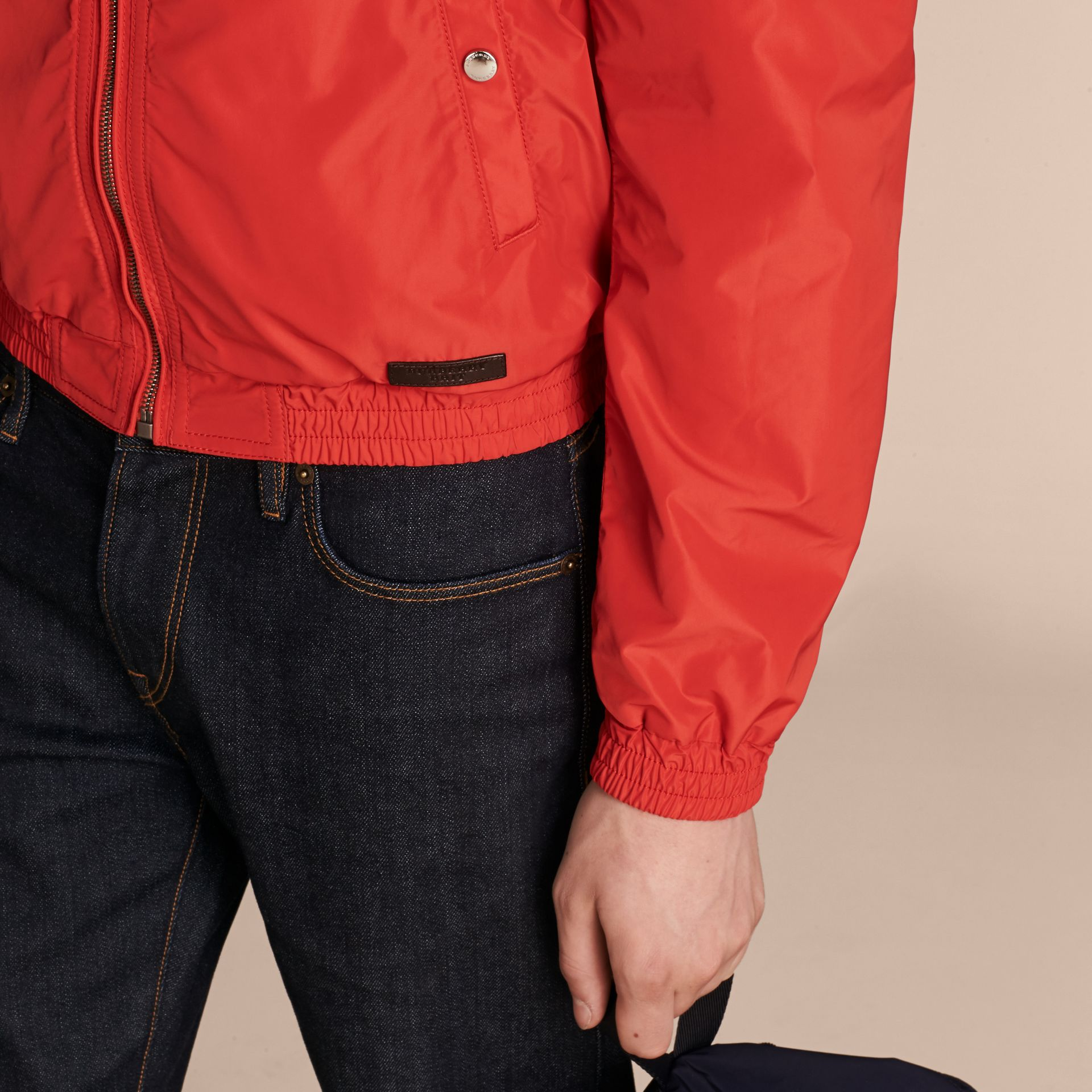Orange red Showerproof Bomber Jacket - gallery image 5