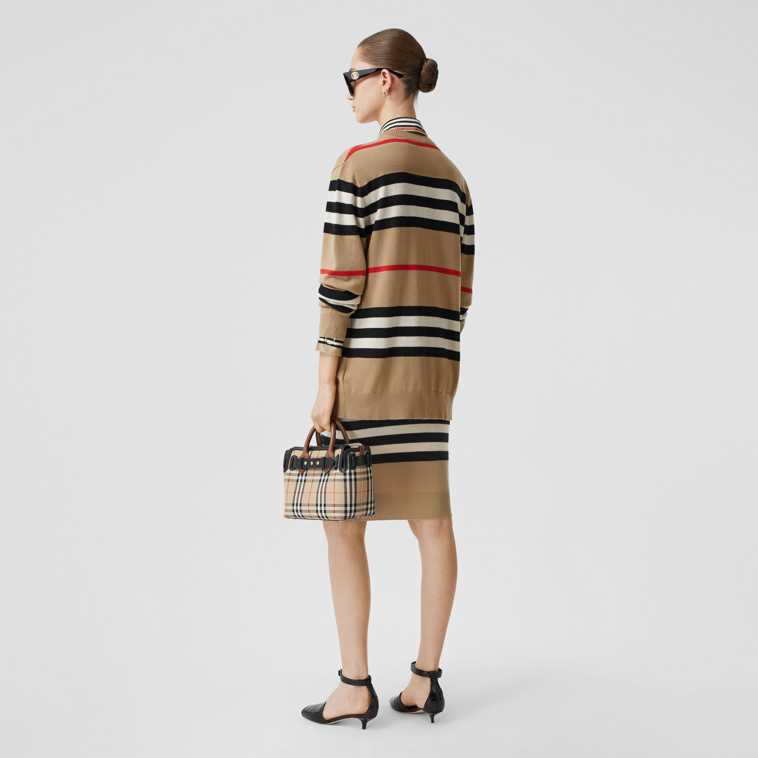 Icon Stripe Merino Wool Cardigan in Archive Beige - Women | Burberry - 3