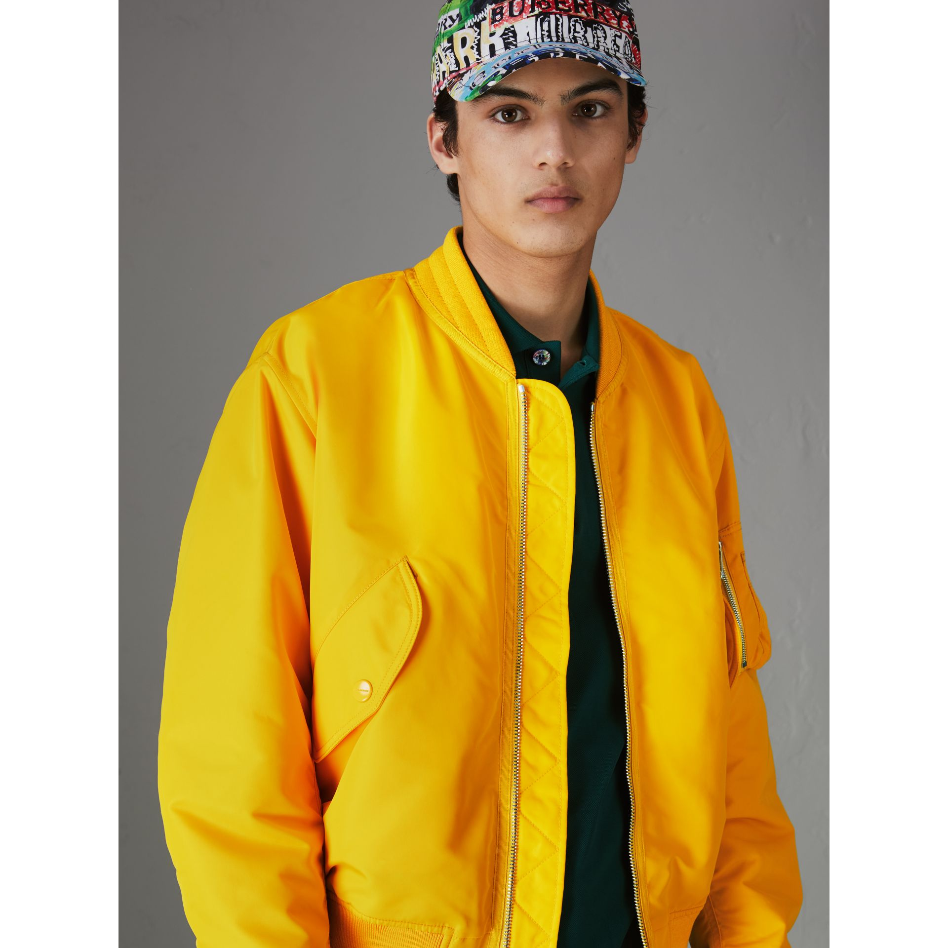 Nylon Bomber Jacket in Bright Yellow - Men | Burberry United Kingdom - gallery image 5