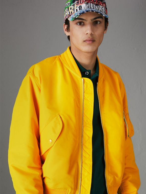 Nylon Bomber Jacket in Bright Yellow