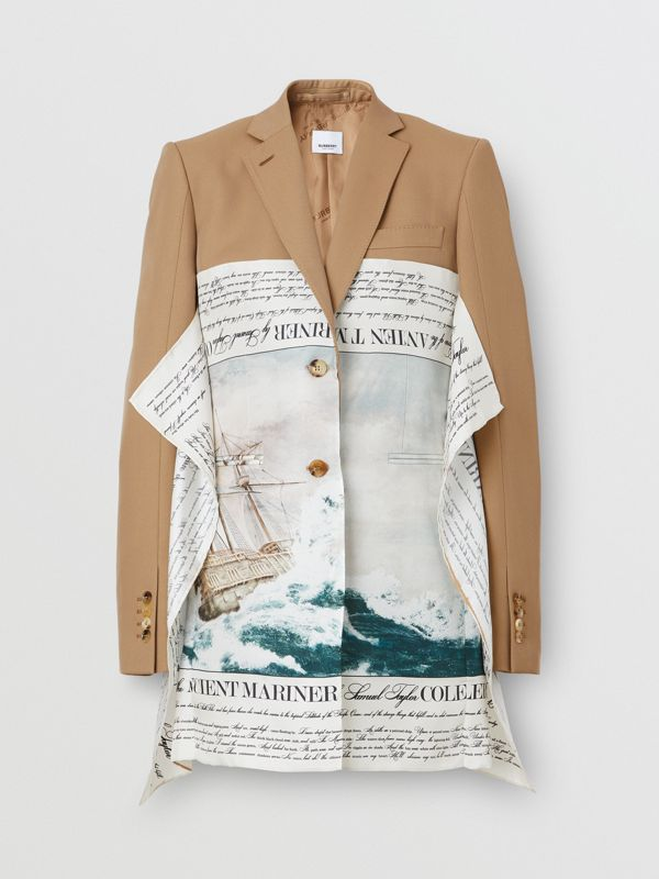Mariner Print Scarf Detail Wool Blend Tailored Jacket in Camel - Women | Burberry United Kingdom - cell image 3